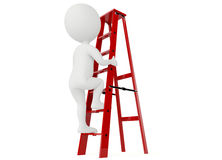 3d humanoid character up a red ladder. On white Royalty Free Stock Photo