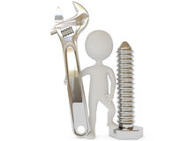 3d humanoid character with wrench and screw Royalty Free Stock Photography