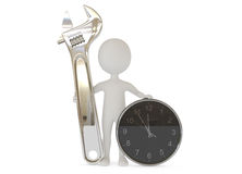 3d humanoid character with a wrench tool and clock Stock Images