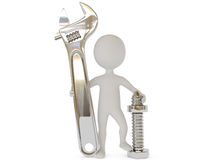 3d humanoid character with wrench tool Stock Photography