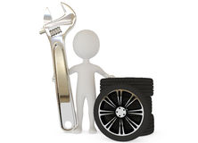3d humanoid character with wrench and wheels Stock Image