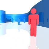 3d humanoid figures. One different from the others. Standing out from the crowd Royalty Free Stock Photography