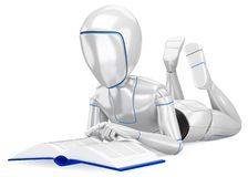 3D Humanoid robot lying reading a book royalty free illustration