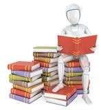 3D Humanoid robot sitting on a pile of book reading Stock Illustration