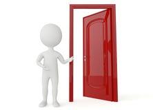 3d humanoidkarakter met een open deur Stock Afbeeldingen