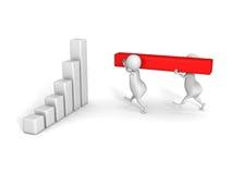 3d humans build success business bar chart graph. 3d render illustration vector illustration