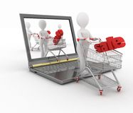 3d humans and a laptop. Make online purchases on a white background vector illustration