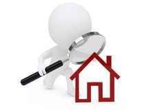 3d humaunoid character and a red house symbol Royalty Free Stock Photo