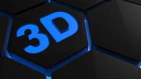 3D i blått ljus på backlighted sexhörningar - tolkning 3D Royaltyfri Foto