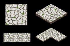 2D i Isometric zmielona bezszwowa dachówkowa tekstura, kolor popielaty Wektorowa ilustracja dla interfejs użytkownika gemowy elem ilustracji