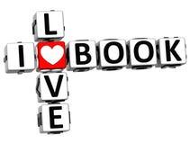 3D I Love Book Crossword Block text Stock Images