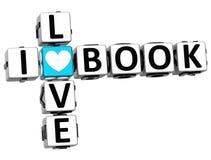3D I Love Book Crossword Block text Stock Photography