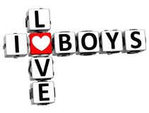 3D I Love Boys Crossword Royalty Free Stock Images
