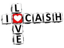 3D I Love Cash Crossword Block text. On white background Royalty Free Stock Photos