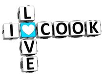 3D I Love Cook Crossword Block text. On white background Stock Photo