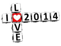 3D I Love 2014 Crossword. On white background Stock Images