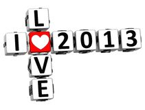 3D I Love 2013 Crossword. On white background Stock Image