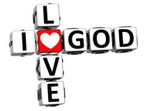3D I Love God Crossword Block text. On white background Royalty Free Stock Photo
