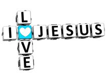 3D I Love Jesus Crossword Block text. On white background Royalty Free Stock Image