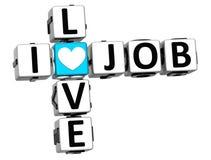 3D I Love Job Crossword Block text. On white background Royalty Free Stock Photo