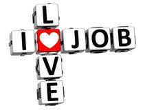 3D I Love Job Crossword Block text Royalty Free Stock Images