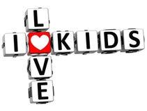 3D I Love Kids Crossword Royalty Free Stock Image