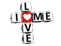 3D I Love Me Crossword. On white background Royalty Free Stock Images