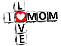 3D I Love Mom Crossword Block text Stock Images