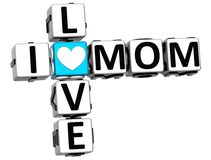 3D I Love Mom Crossword Block text. On white background Royalty Free Stock Photography