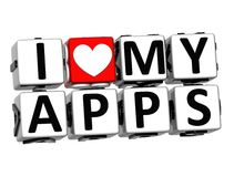 3D I Love My Apps Button Click Here Block Text Royalty Free Stock Images