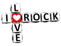 3D I Love Rock Crossword. On white background Royalty Free Stock Image