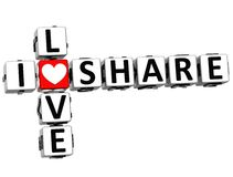 3D I Love Share Crossword Royalty Free Stock Images