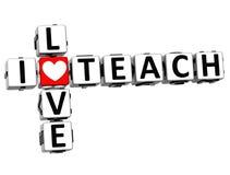 3D I Love Teach Crossword. On white background Stock Photo
