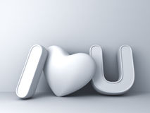 3d I love you concept with heart on white background with shadow, valentines day background 3D rendering Stock Photos