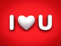 3d I love you concept with white heart on red background with shadow, valentines day background Stock Photo