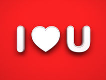 3d I love you concept with white heart on red background with shadow, valentines day background Royalty Free Stock Image