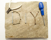D.I.Y display on Stone slab with Tools Royalty Free Stock Images