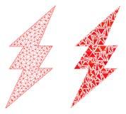2D icône polygonale de Mesh Electric Spark et de mosaïque illustration stock