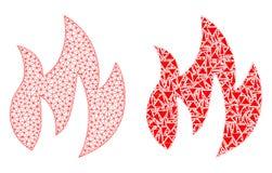2D icône polygonale de Mesh Fire et de mosaïque illustration de vecteur