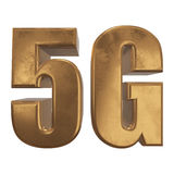 3D icône de l'or 5G sur le blanc Photo stock