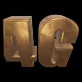 3D icône de l'or 4G sur le noir Photo libre de droits