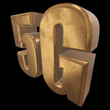 3D icône de l'or 5G sur le noir Photo stock