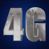 3D icône en métal 4G sur le bleu Images libres de droits