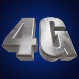 3D icône en métal 4G sur le bleu Photographie stock libre de droits