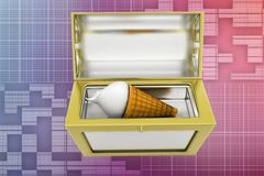 3d ice cream treasure box illustration Royalty Free Stock Photo