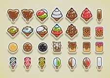 2D ice creams. Big set of 28 different ice creams vector illustration