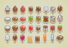 2D ice creams set 2. Big set of 2D ice creams. Set 2 stock illustration