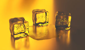 3D Ice cubes. 3D rendering. 3D Ice cubes. Group of cold ice cubes over yellow background. 3D rendering Stock Images
