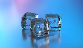 3D Ice cubes. 3D rendering. 3D Ice cubes. Group of cold ice cubes over gray background. 3D rendering Stock Image