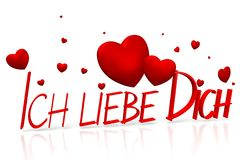 3D ich liebe dich - I love you - German Royalty Free Stock Photo
